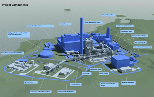 An artist's impression of the Peterhead Carbon Capture and Storage project (CCS)