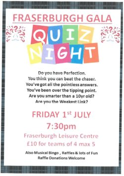 Annual Broch Gala Quiz @ Faserburgh Leisure Centre
