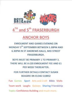 4th and 5th Fraserburgh Anchor Boys  - Enrolment and games Evening @ St Andrews Halls  | Fraserburgh | Scotland | United Kingdom