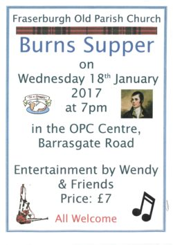 Fraserburgh Old Parish Church Burns Supper @ OPC Centre   Scotland   United Kingdom