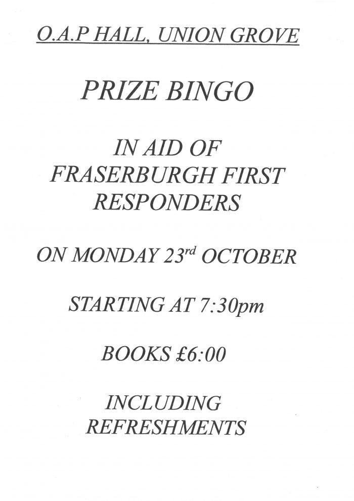 Prize Bingo -  In Aid Of Fraserburgh First Responders @ O.A.P Hall | Scotland | United Kingdom