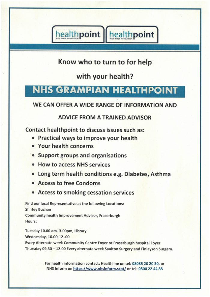 NHS Grampian Healthpoint Thursday @ Saltoun Surgery and Finlayson Sugery